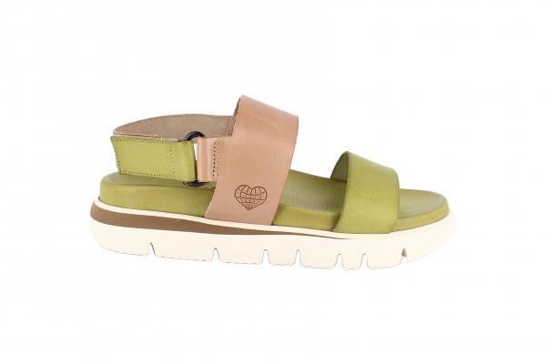 Damen Sandale mit Klettverschluss Pistazien/Beige