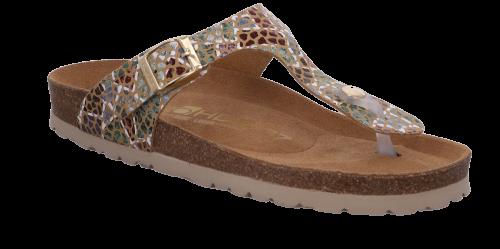 Rohde Damen Zehentrenner Bio-Pantolette Alba in Multicolor camel