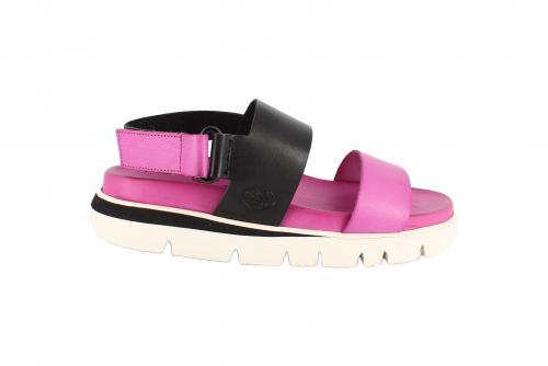 Damen Sandale mit Klettverschluss Fuchsia / Schwarz
